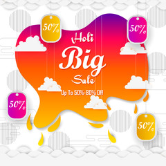 vector illustration of India Festival of Color Happy Holi Advertisement Sale background