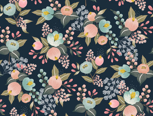 Wall Mural -  Vector illustration of a seamless floral pattern with spring flowers. Lovely floral background in sweet colors