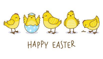 Easter greeting card with cute chickens