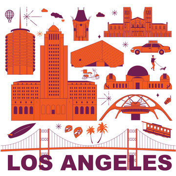 Los Angeles culture travel set, famous architectures and specialties in flat design. Business travel and tourism concept clipart. Image for presentation, banner, website, advert, flyer, roadmap, icons