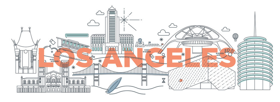 Typography word Los Angeles branding technology concept. Collection of flat vector web icons. American culture travel set, architectures, specialties detailed silhouette. Doodle famous landmarks.