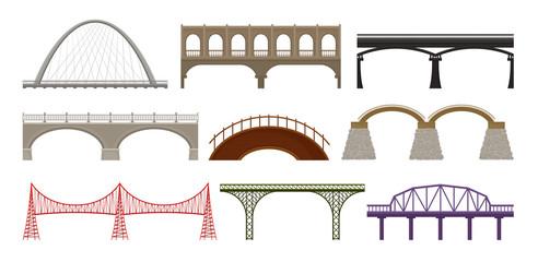 Fotobehang Brug City bridges of different design on white background.