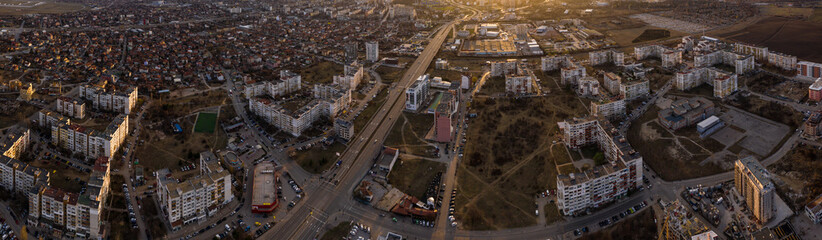 Aerial panorama of a buildings