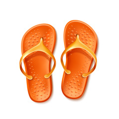 Vector orange flip flops beach footwear slippers