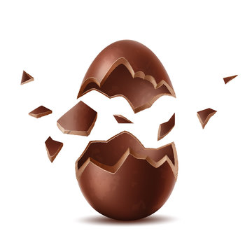 Vector 3d broken chocolate egg easter symbol