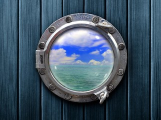 Foto auf AluDibond Schiff Ship porthole with wooden wall and ocean view