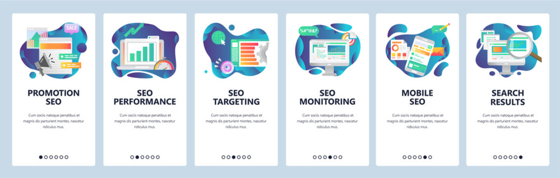 Mobile app onboarding screens. SEO optimization and digital internet marketing. Menu vector banner template for website and mobile development. Web site design flat illustration.