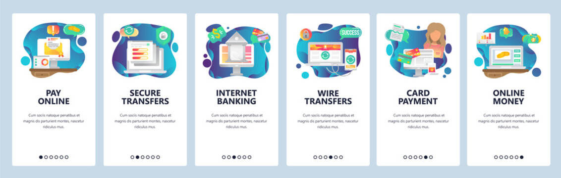 Mobile app onboarding screens. Online payment, wire transfers and digital money. Internet secure banking and finance. Vector banner template for website and mobile development. Web site illustration