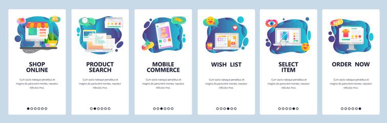 Mobile app onboarding screens. Online shopping, internet store, mobile ecommerce. Menu vector banner template for website and mobile development. Web site design flat illustration