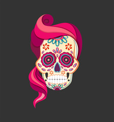 Flat style Day of the female Dead Sugar Skull with pink Hair. Paper cut Calavera vector illustration