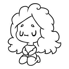 line drawing of a cute kawaii girl