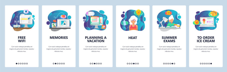 Mobile app onboarding screens. Summer vacation on a beach, office worker dreaming about vacation. Menu vector banner template for website and mobile development. Web site design flat illustration