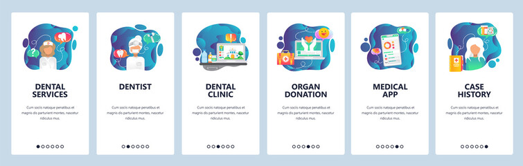 Mobile app onboarding screens. Dental clinic, doctor and nurse, organ donation, medical app. Menu vector banner template for website and mobile development. Web site design flat illustration