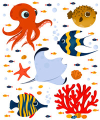 Underwater life postcard. Cute ocean animals and corals. Use for postcard, print, packaging, etc.
