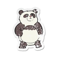 retro distressed sticker of a cartoon panda