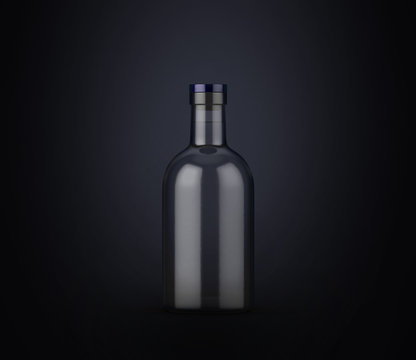 Vodka bottle on dark background. Product packaging brand design. Mock up drink with place for you lable and text.