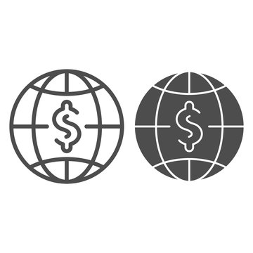 Dollar with globe line and glyph icon. World money vector illustration isolated on white. Global budget outline style design, designed for web and app. Eps 10.