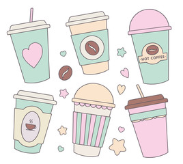 Vector illustration collection set with different cute pastel colored cartoon paper cups for coffee, chocolate or other hot beverages