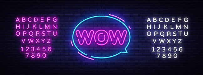 Wow Neon Text Vector. Wow pop art neon sign, design template, modern trend design, night neon signboard, night bright advertising, light banner, light art. Vector. Editing text neon sign
