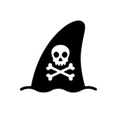 Shark fin vector icon logo pirate skull crossbones dolphin symbol illustration