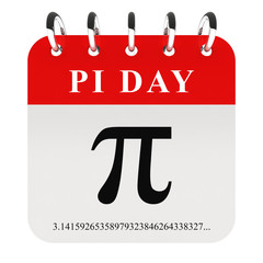 Pi day - pi symbol on calendar page 3D render