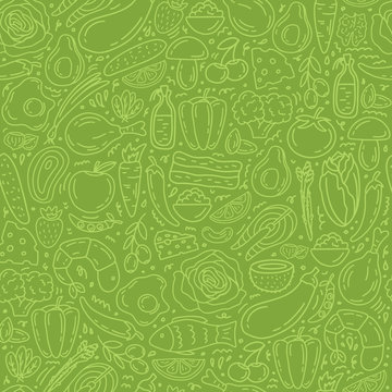 Healthy food seamless pattern