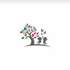 Children play,Playgroup, preschool, kindergarten logo vector
