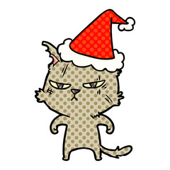 tough comic book style illustration of a cat wearing santa hat