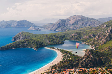 Aerial view of paraglider and Blue Lagoon in Oludeniz, Turkey.