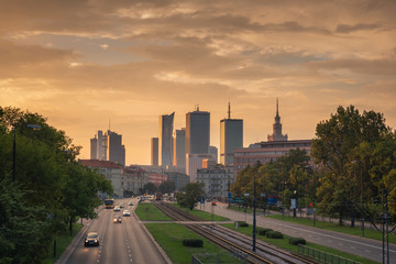Panorama of skyscrapers in the center of Warsaw at sunset, Poland