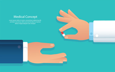 doctor giving pills to patient vector illustration