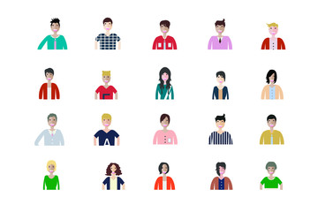 Business man and woman icons. Group of working people. Different nationalities characters. Flat style design Infographic elements