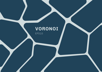 Abstract dark blue voronoi diagram background. Geometric Mosaic backdrop and wallpaper.