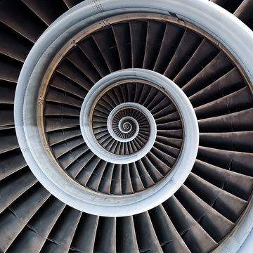 Air plane engine spiral abstract background. Engine fractal background. Industrial infinity spiral surreal abstract image.