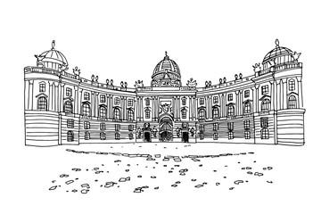 Wall Mural - Vector sketch of Hofburg palace on St. Michael square (Michaelerplatz), Vienna, Austria