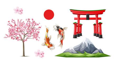 Vector japanese Torii gate sakura koi carp Wall mural