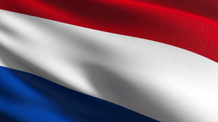 Netherlands national flag blowing in the wind isolated. Official patriotic abstract design. 3D rendering illustration of waving sign symbol.