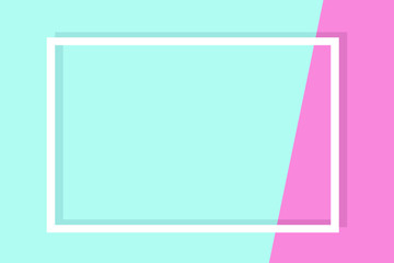 Empty frame on color pastel background. Minimal concept, Flat style. Copy space for text, design your idea, quotes and sayings