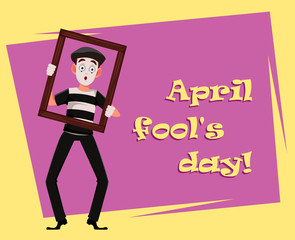 April Fool's Day greeting card with mime