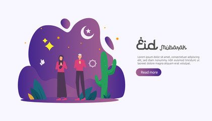 islamic design illustration concept for Happy eid mubarak or ramadan greeting with people character. template for web landing page, banner, presentation, social, poster, ad, promotion or print media