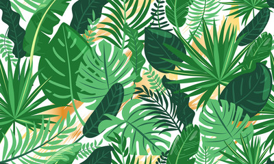 Tropical leaves seamless pattern. Green tropical plants with golden abstract brush strokes. Jungle style. Vector illustration for textile, postcard, fabric, wrapping paper, background, packaging.