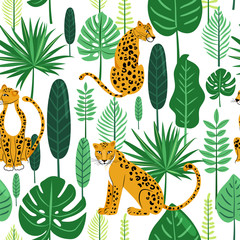 Leopard seamless pattern. Composition with leopards and tropical leaves on white background. Vector illustration for textile, postcard, fabric; wrapping paper, background, packaging.