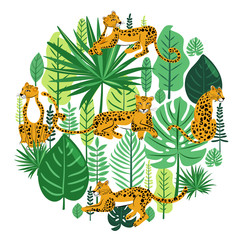 Tropical leaves and cute leopards around the circle. Wild concept. Illustration with foliage of exotic jungle plants and animals. Vector composition on white background.