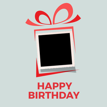 happy birthday background with photo, blank frame. Vector template with picture to insert