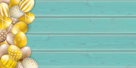 Noble Golden Easter Eggs Heap Wooden Turquoise Header
