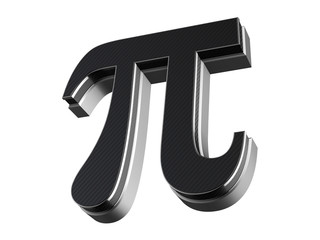 Pi symbol - steel and carbon extruded symbol isolated on white background