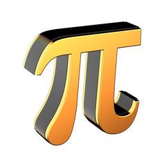 Metallic gold Pi symbol isolated on white background