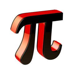 Glossy pi symbol isolated on white background