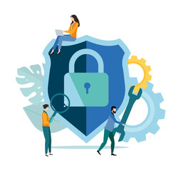 Online technologies, IT and internet security, data protection. Template with people and closed lock icon.