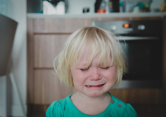 crying little girl at home, kids despair